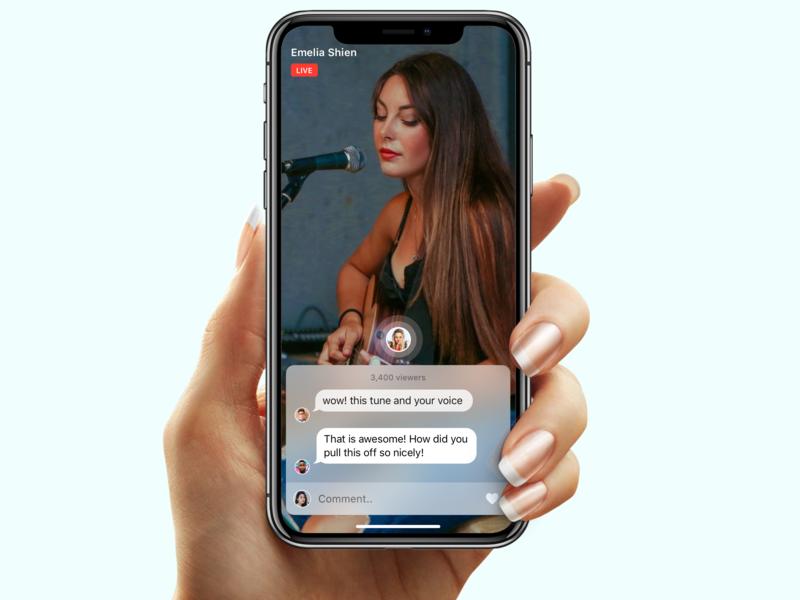 Live Music app iOS 🎤 app interface iphone x singing live music video ui ux live ios music app