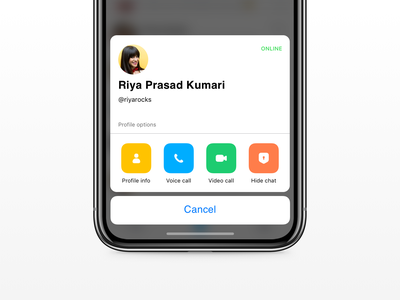Mini Profile exploration for Hike Messenger experience simple bold ui simple clean interface action button video voice quick action nativity interface uidesign ux online profile card ios hike chat app mini profile action sheet ios 12
