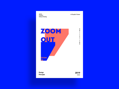Zoom In Zoom Out Poster Design blue and white typography graphic design bold poster art solid color sketch vector minimal modern posterdesign design principle illustration poster graphic art graphic
