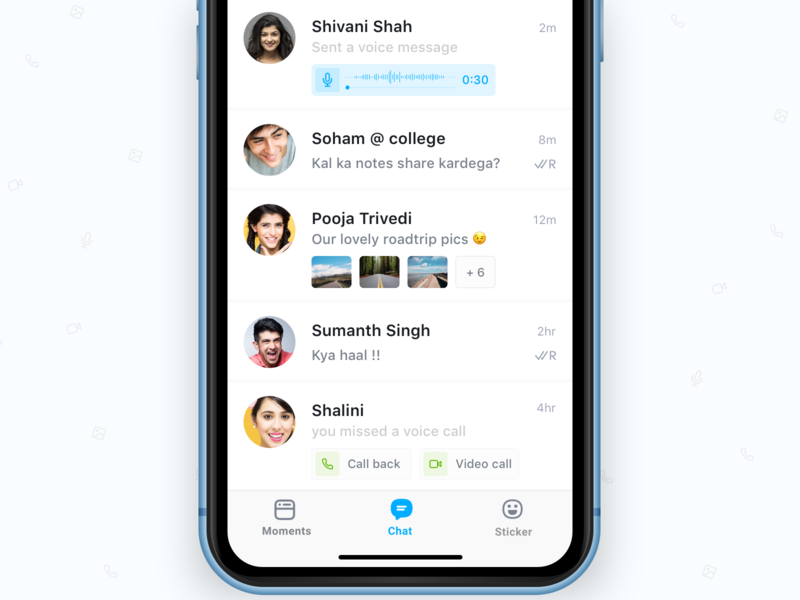 Chat list with quick actions & preview product design problem solving voice message media preview ios simplified ux messaging media voice iphone chat quick action simple quick view attachment ui messenger chat app list view ios 12
