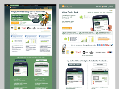 FamZoo Homepage Evolution client homepage redesign design modernizing flat refresh realign