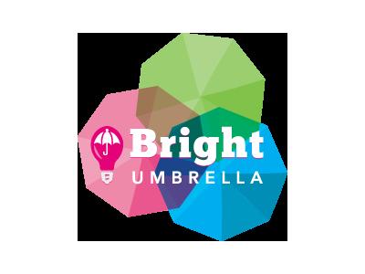 Bright Umbrella Social Card rebrand umbrella colors colorful identity logo branding light bulb bright