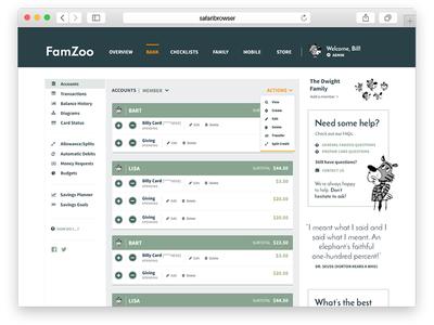 Initial desktop app comps monochromatic simple modern listing accounts transactions bank