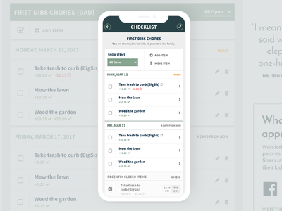 Mobile FamZoo Checklist - New Styling task manager todo list to do list checkbox check typography mobile app task list tasks checklist user interface design ui mobile app design app mobile