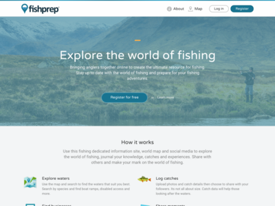 Fishprep.com - Explore the world of fishing front page landing page social media fishprep web social fishing information network website startup community