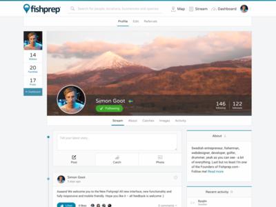 Fishprep.com - User profile social media fishprep web stream feed social information network website startup community user profile