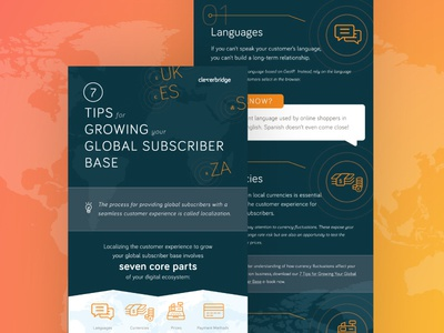 Growing your Global Subscriber Base Infographic brand navy orange editorial global subscription infographic typesetting layout