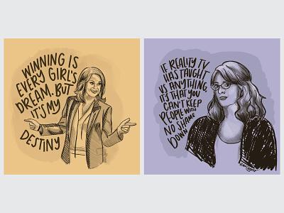 Female Characters | Knope + Lemon kansas city characters illustrate parks ans rec 30 rock graphic design handlettering illustration