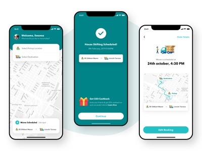 Movers - Task Scheduled explorations navigation house ride location map track timer schedule task app design app minimal ux ui