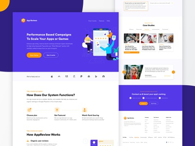 App Review - Landing Page home page branding illustration typography website flat web design ux ui minimal reviews layout landing page review interface creative clean