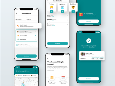 Movers - Task schedule & completion ios app application edit publish compose task map schedule time listing house shifting insurance furniture icon illustration interaction ui ux minimal