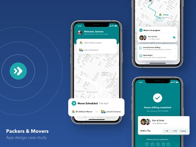 Movers - House shifting app design | Case Study ios schedule task card search map onboarding illustration app design ux ui minimal house shifting behance case study app