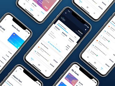 Debt payoff- Fintech app design ux transaction spending profile minimal limit lend home graph flat fintech finance cards credit card card bank app balance application app analytics
