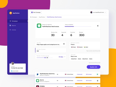App Review | Dashboard reviews finance progress bar steps list data product design reports campaigns typography branding illustration web design web app dashboard ui dashboard minimal ux ui