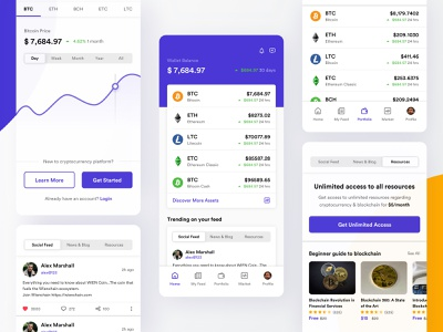 Cryptocurrency | Cross platform app interface watchlist crypto wallet uiux clean ui trading trade modern minimal graphs flat fintech exchange mobile dashboard ethereum cryptocurrency clean charts blockchain bitcoin