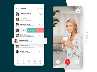 3D Calling feature for teams project app design ios channels video conference augmented reality chat list team call mobile flat minimal ui  ux