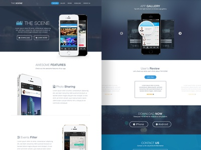 The Scene app landing page and app redesign