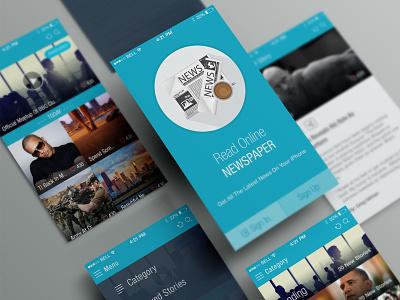 Online News Paper iOS APP UI (Free PSD) ios 7 app design flat ui ux feed clean splash screen free psd freebie share news