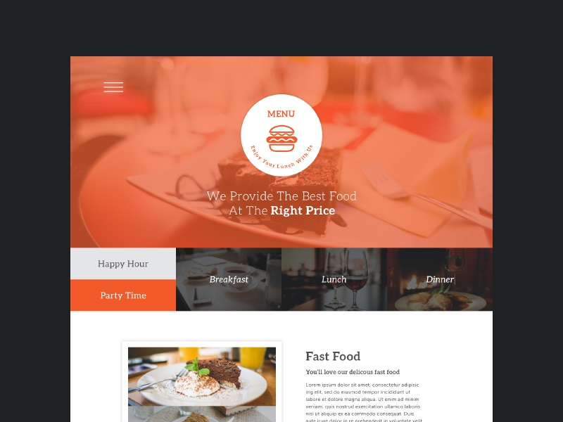 menu one page psd freebie ui ux flat restaurant free psd web design food drinks feedback categories subscribe newsletter