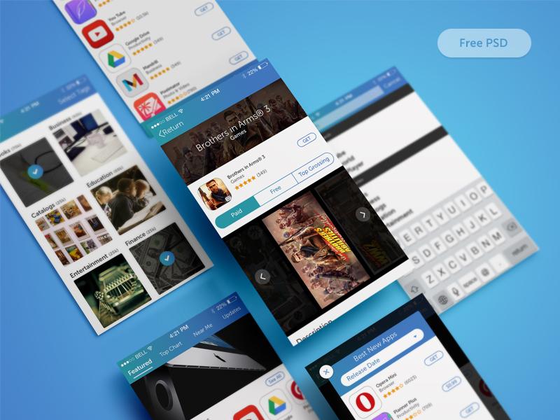 iOS App Store Redesign Freebie ui ux ios app store redesign concept free psd gradient