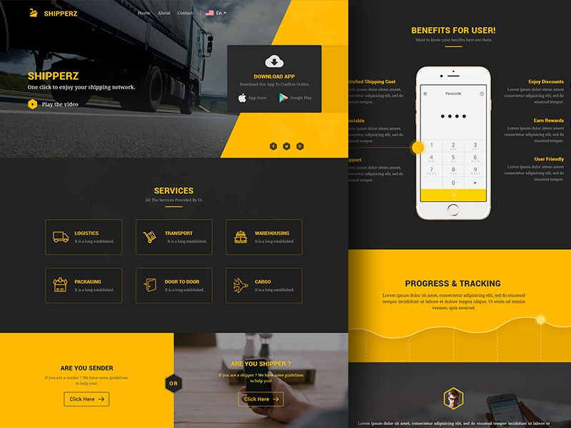 Shipping Website Concept Design transport product delivery logistic landing page shipping web design flat ux ui