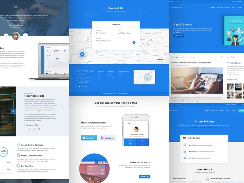 Market+ website design blog pricing download product home landing page map marketing agency contact us web design ux ui
