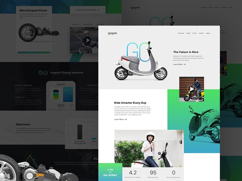 Gogoro landing page concept bike ride energy gogoro redesign landing page scooter web design ux ui