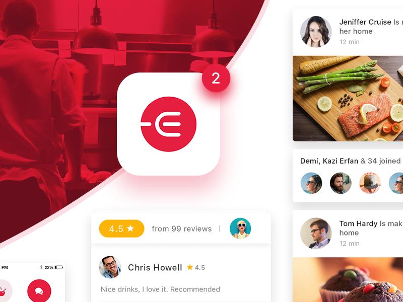 Edacious Free UI Kit restaurant freebie siri review share map animation recipe app food ux ui