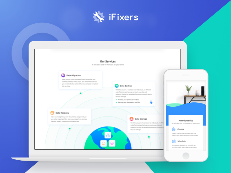 iFixers Redesign booking hardware services contact landing page smart home repair redesign ux ui