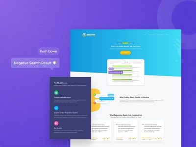 How it works - Reputation Repair Club landing page gif form design responsive ui ux report analytic