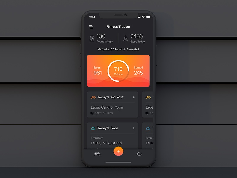 Fitness Tracker Homepage workout tracker fitness home dashboard minimal ux ui
