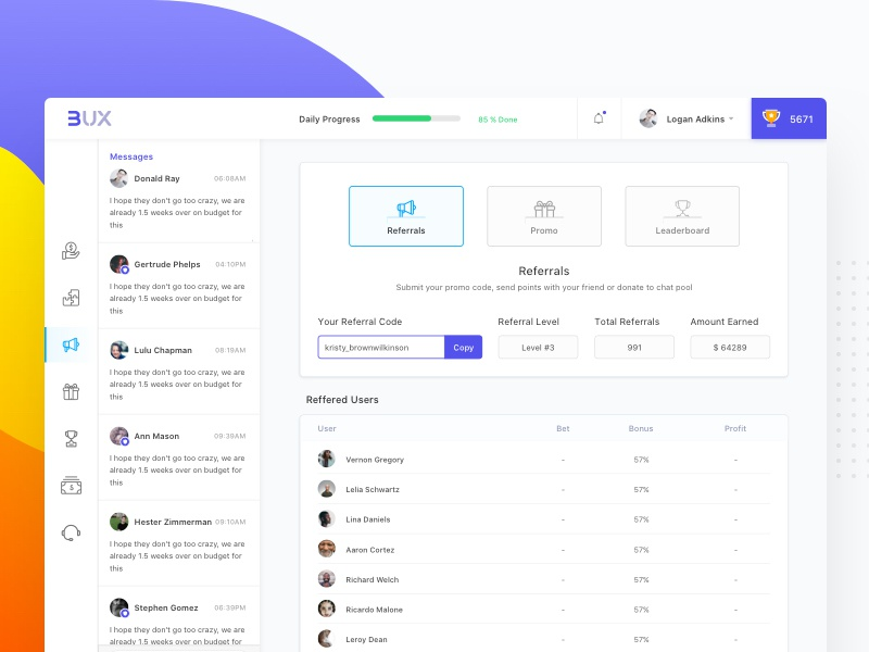 Cryptocurrency Dashboard Referral dashboard design minimal ux ui leaderboard promo game referrals crypto