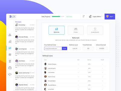 Cryptocurrency Dashboard Referral dashboard design minimal ux ui leaderboard promo game referrals crypto