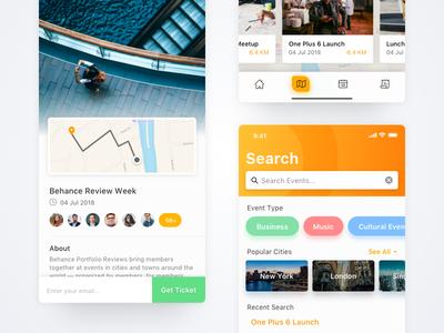 Evento app screens