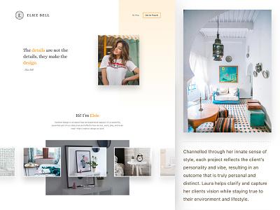 Interior designer portfolio artist social contact works minimal interior landing page designer studio portfolio