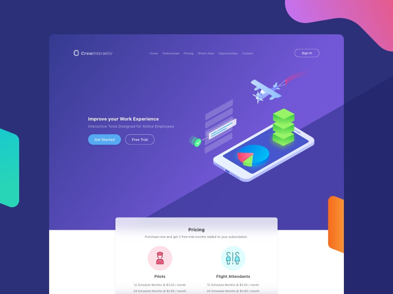 Interactive tools for air crew - Landing page ui ux landing web design minimal air crew pricing tools footer navigation