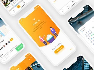 Event Management App Behance Project navigation material add yellow minimal design ux ui management event
