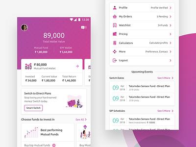 Piggy App Redesign (WIP) profile redesign minimal app ux ui direct plans finance portfolio sip mutual fund investment