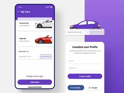 Car Maintenance App mobile app android ios onboarding registration car ux minimal ui
