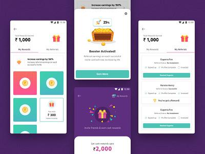 Refer & Earn Program-Piggy cashback reward gift invite referral android ux ui earn refer