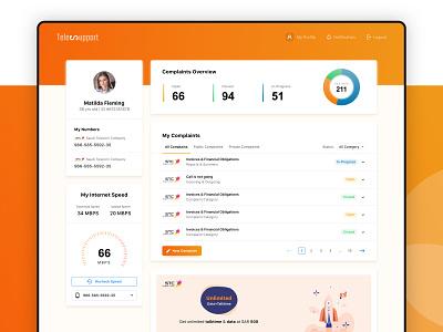 Telecom Dashboard Design complaints speed network telecom dashboard ux minimal ui