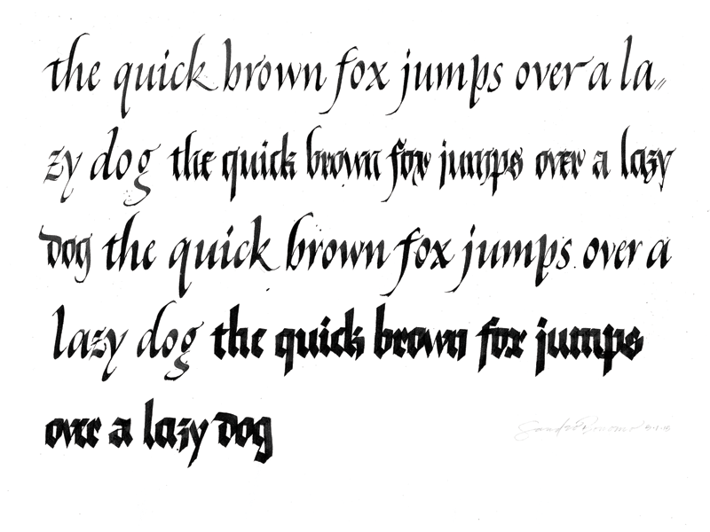 Calligraphy exercise - Italic & Fraktur calligraphy colapen type typography letters lettering italic fraktur textura