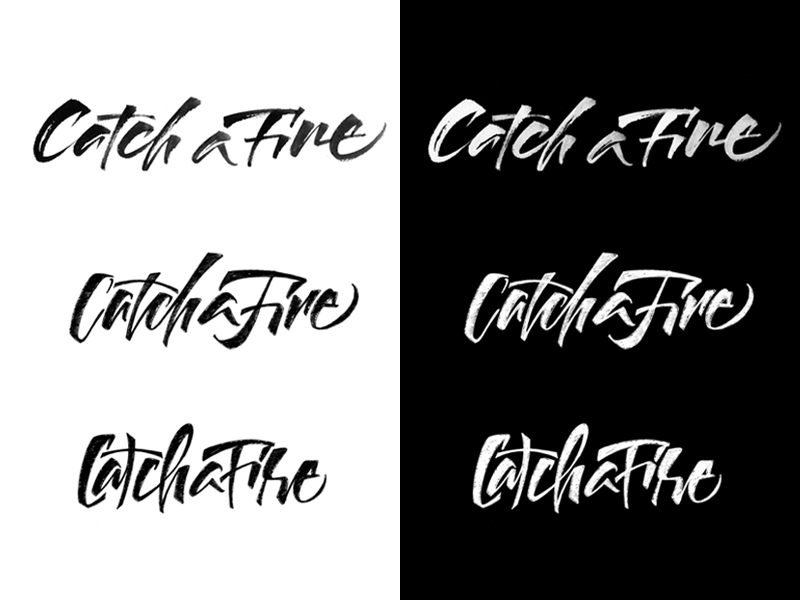 Catch a Fire - Logo proposals catchafire brushpen lettering brush calligraphy logo fire catch
