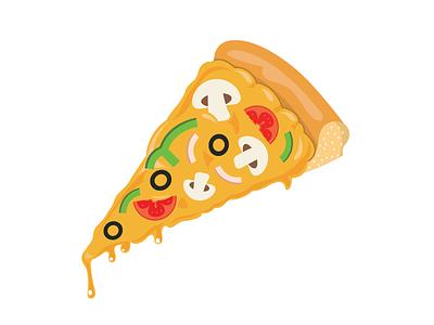 Pizza Slice italy fast food bake capsicum cheese olive tomato mushroom vector slice pizza