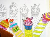 Cupcake Coloring Bookmarks
