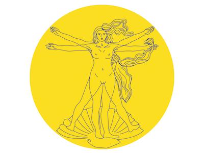 Vitruvian Woman ft. Botticelli botticelli vitruvian line minimal modern yellow female illustration