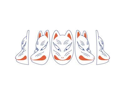 Fox Faces mask fox kitsune red line minimal japanese illustration