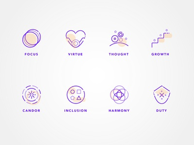 Company Values Icon Set clean lines icon set modern minimal clean icons