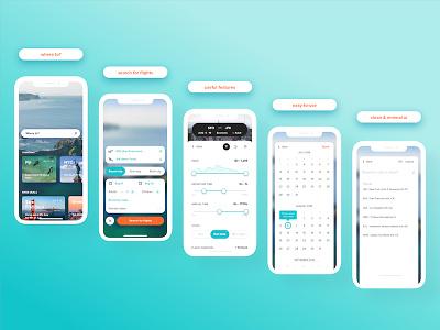 Travel & Booking App ui uiux mobile ios clean minimal book concept app travel flights