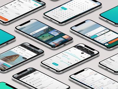 Travel App - Isometric screens minimal clean flights booking travel ios app mobile uiux ui isometric